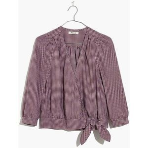 NWT Madewell Wrap Gingham Check Top Rusty Burgundy